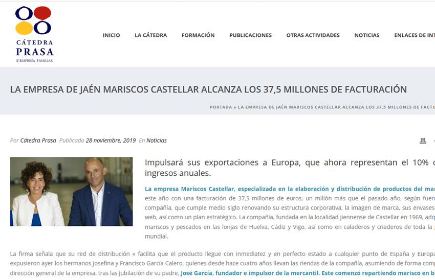 CÁTEDRA PRASSA – La empresa de Jaén Mariscos Castellar alcanza los 37,5 millones de facturación
