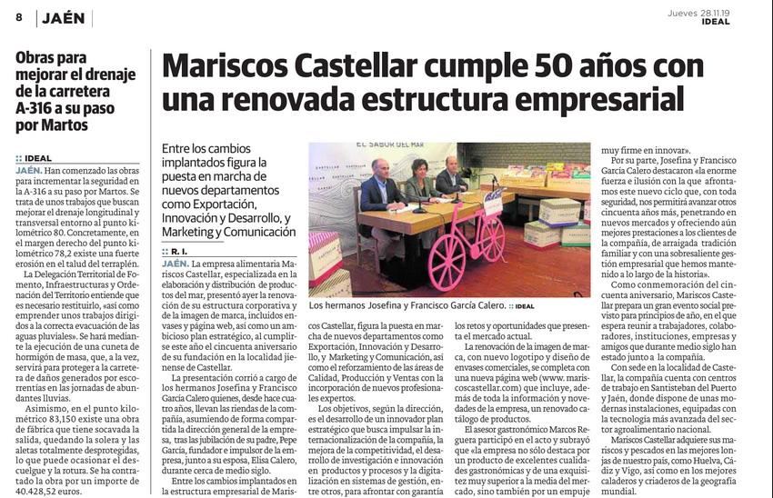IDEAL JAÉN – Mariscos Castellar cumple 50 años con una renovada estructura empresarial