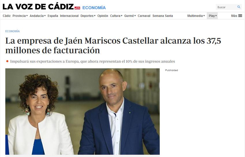 LA VOZ DE CÁDIZ – La empresa de Jaén Mariscos Castellar alcanza los 37,5 millones de facturación