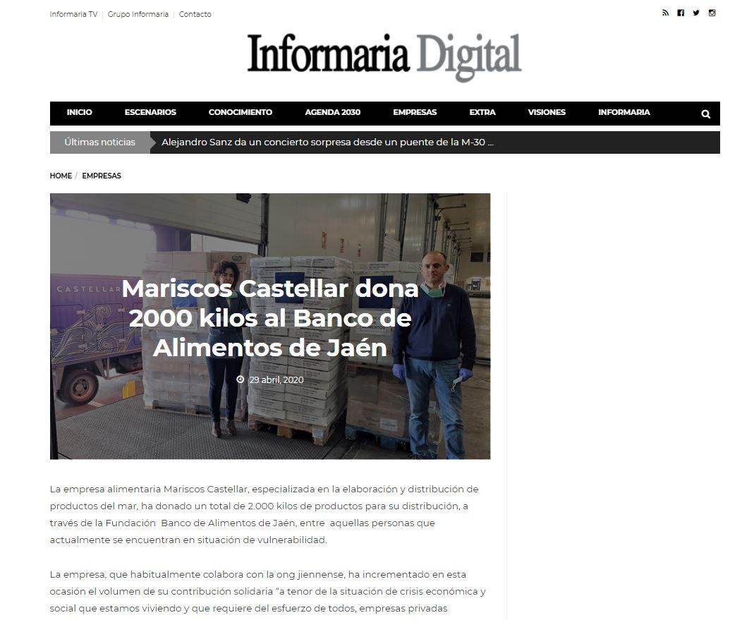 INFORMARIA-Mariscos Castellar dona 2.000 Kg al Banco de Alimentos de Jaén.