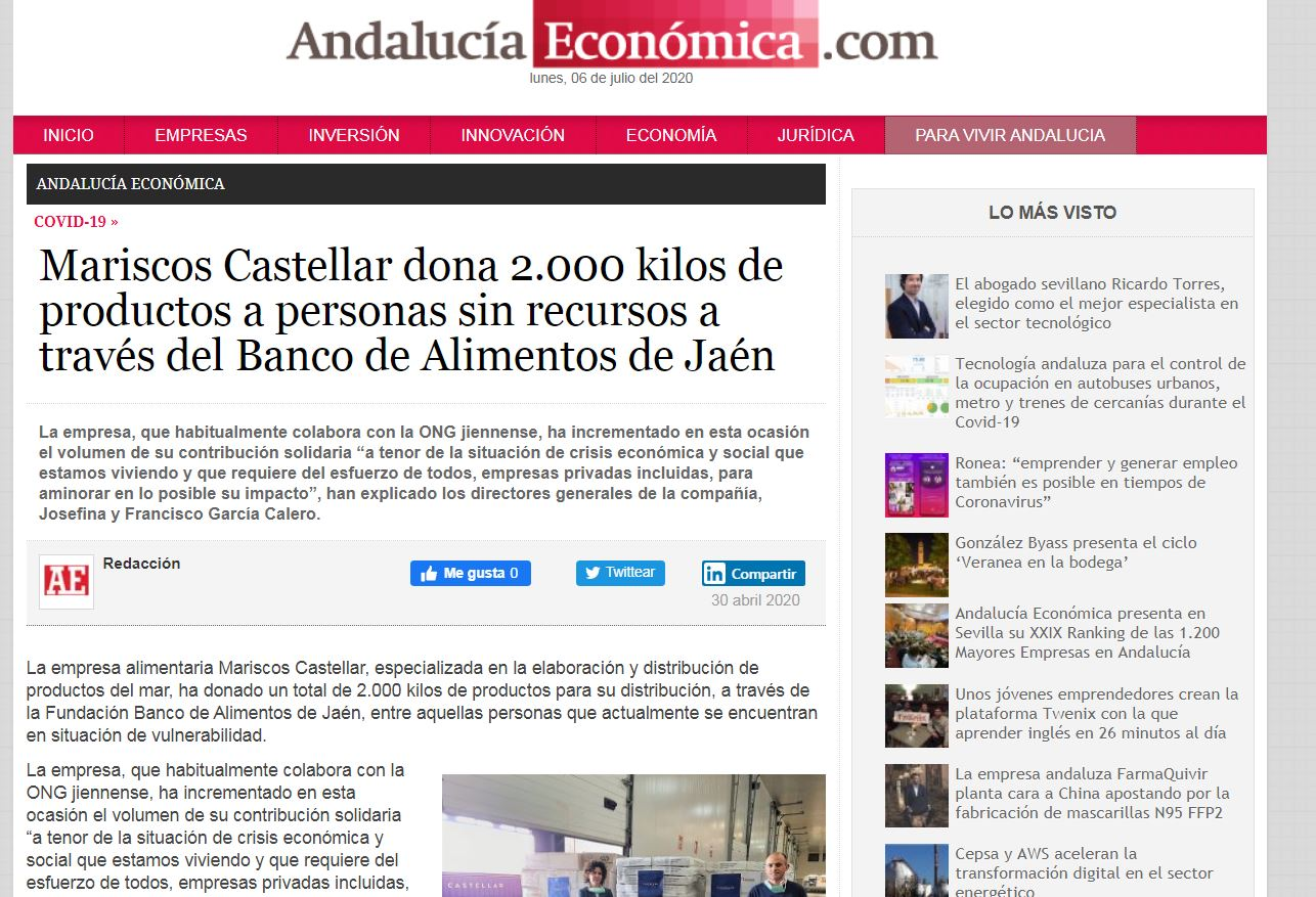 ANDALUCÍA ECONÓMICA-Mariscos Castellar dona 2.000 kilos de productos a personas sin recursos a través del Banco de Alimentos de Jaén.