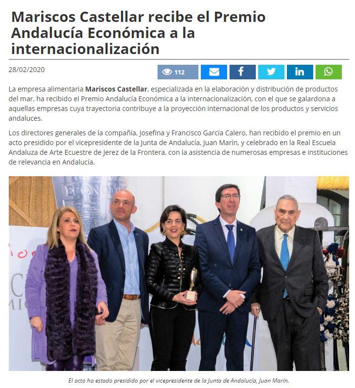 INTEREMPRESAS- Mariscos Castellar recibe el Premio Andalucía Económica a la internacionalización.
