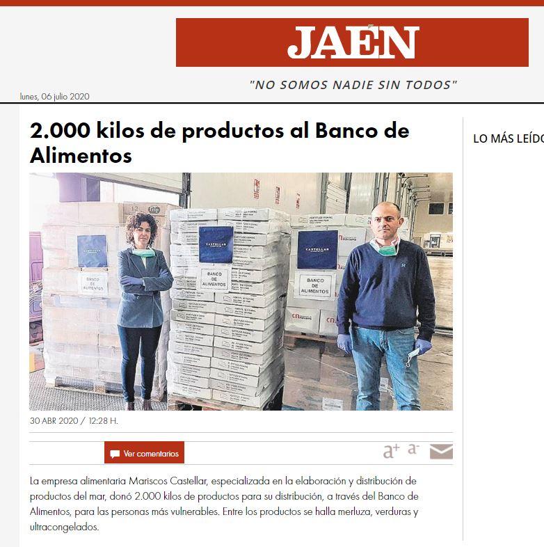 DIARIO JAÉN-Mariscos Castellar dona 2.000 Kg de productos al Banco de Alimentos.