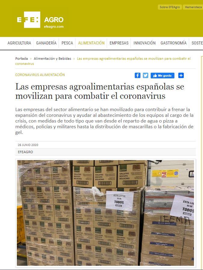 EFEAGRO-Las empresas agroalimentarias españolas se movilizan para combatir el coronavirus.