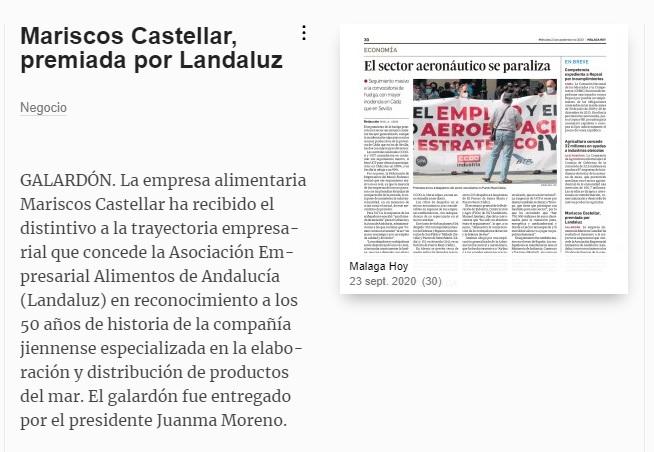MÁLAGA HOY-Mariscos Castellar premiada por LANDALUZ