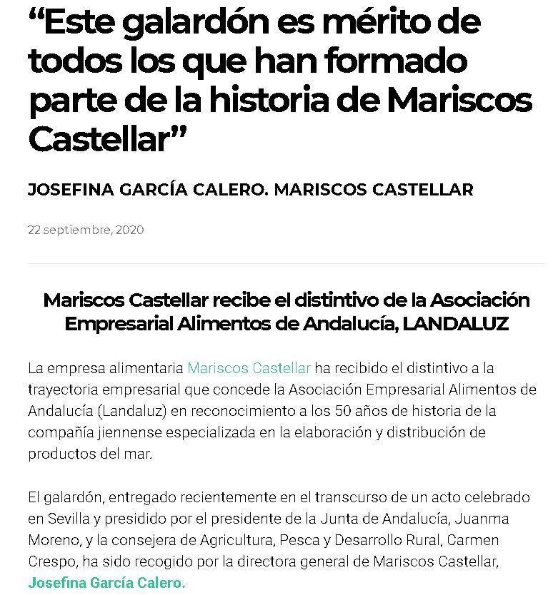 MUJER EMPRENDEDORA-Mariscos Castellar recibe el distintivo de LANDALUZ