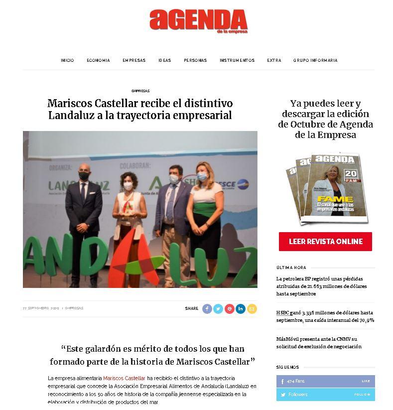 AGENDA DE LA EMPRESA- Mariscos Castellar recibe el distintivo Landaluz a la trayectoria empresarial