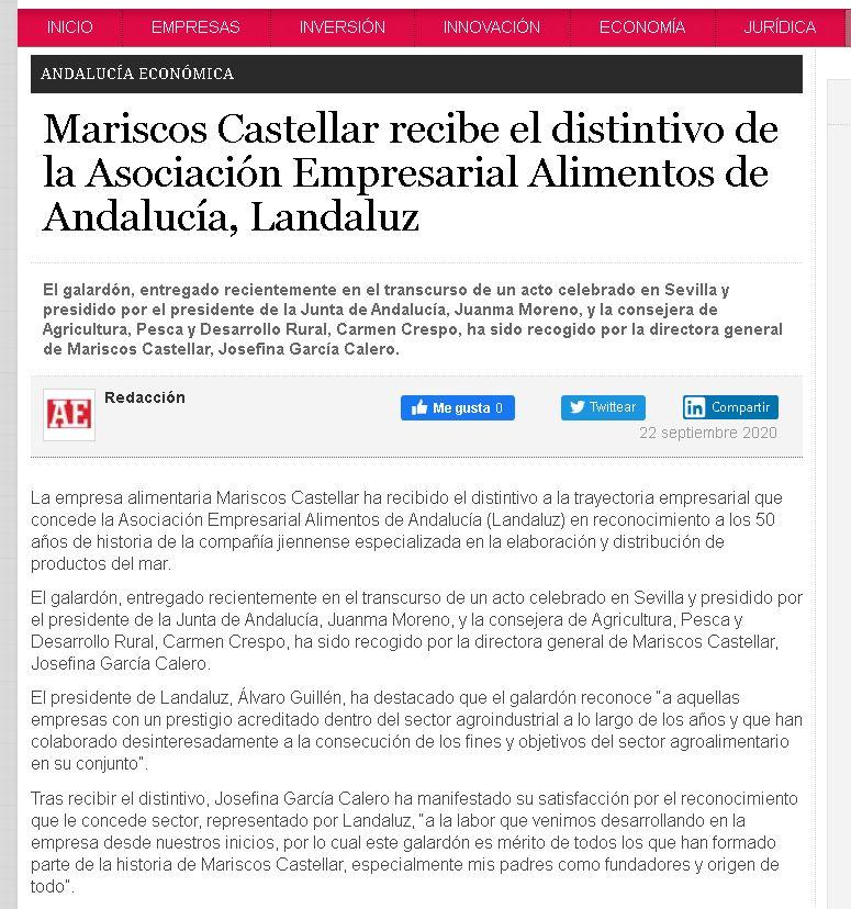 ANDALUCÍA ECONÓMICA-Mariscos Castellar recibe el distintivo de la Asociación Empresarial de Alimentos de Andalucía, LANDALUZ