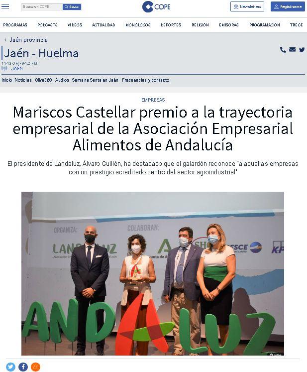 COPE- Mariscos Castellar premio a la trayectoria empresarial de la Asociación Empresarial Alimentos de Andalucía