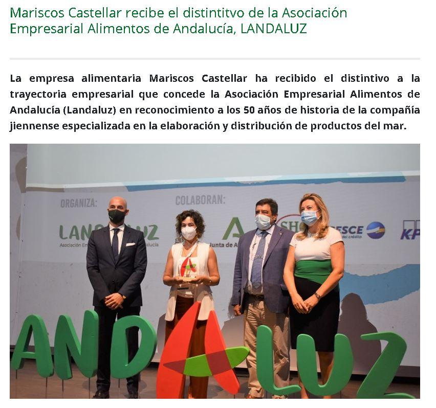 ONDA CERO-Mariscos Castellar recibe el distintivo de la Asociación Empresarial de Alimentos de Andalucía, LANDALUZ