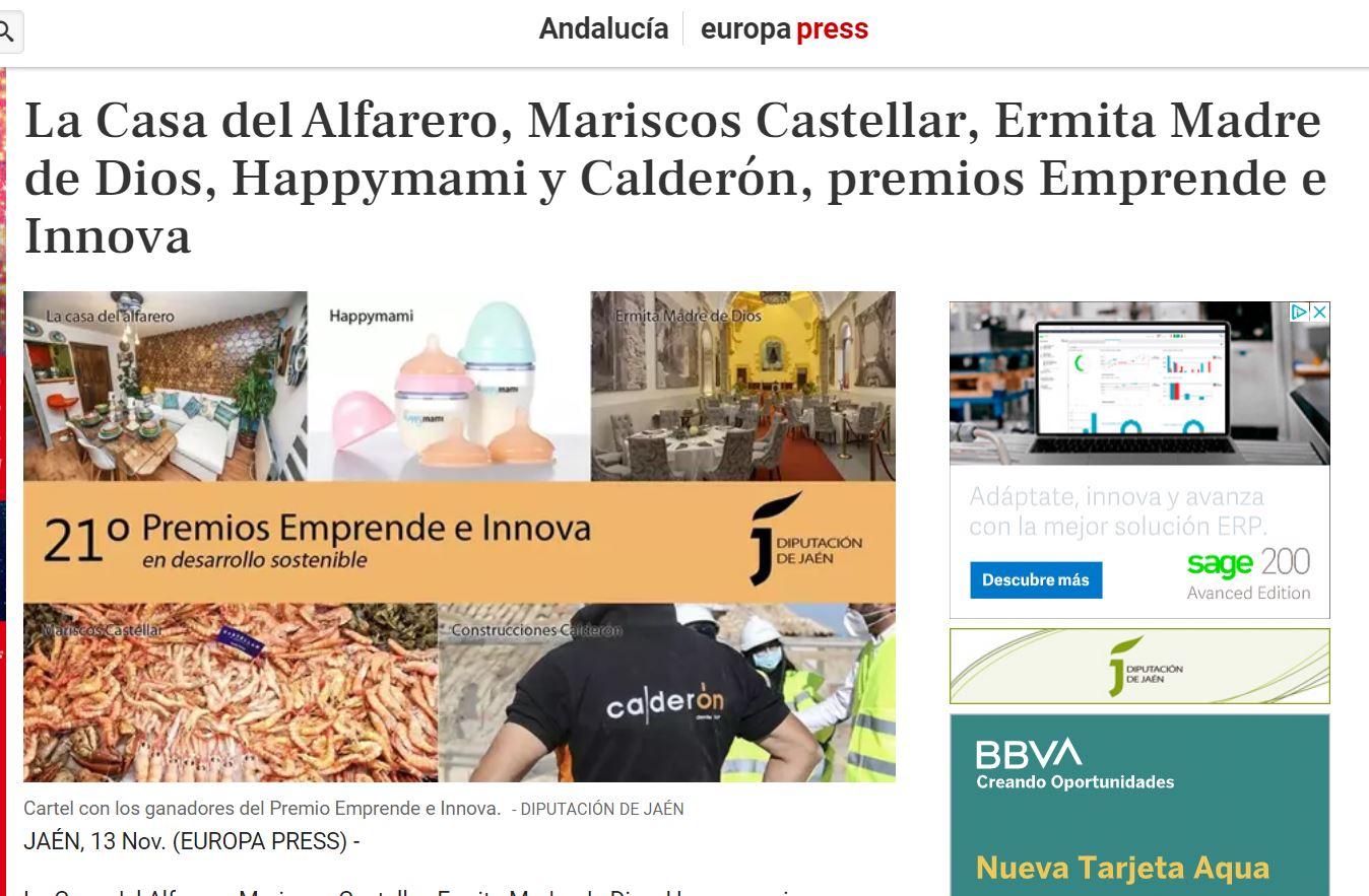 EUROPA PRESS- Mariscos Castellar premio Emprende e Innova