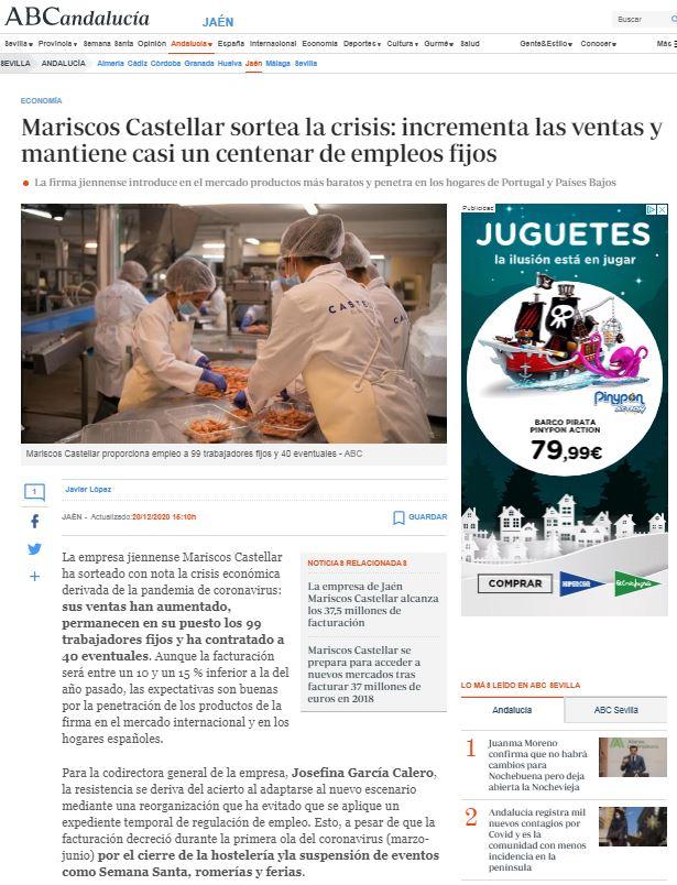 ABC Andalucía- Mariscos Castellar sortea la crisis: incrementa las ventas y mantiene casi un centenar de empleos fijos.