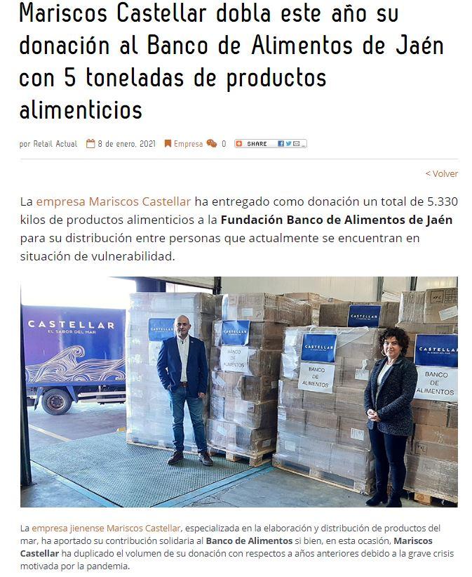 RETAIL ACTUAL-Mariscos Castellar dobla este año su donación al Banco de Alimentos de Jaén con 5 toneladas de productos alimenticios