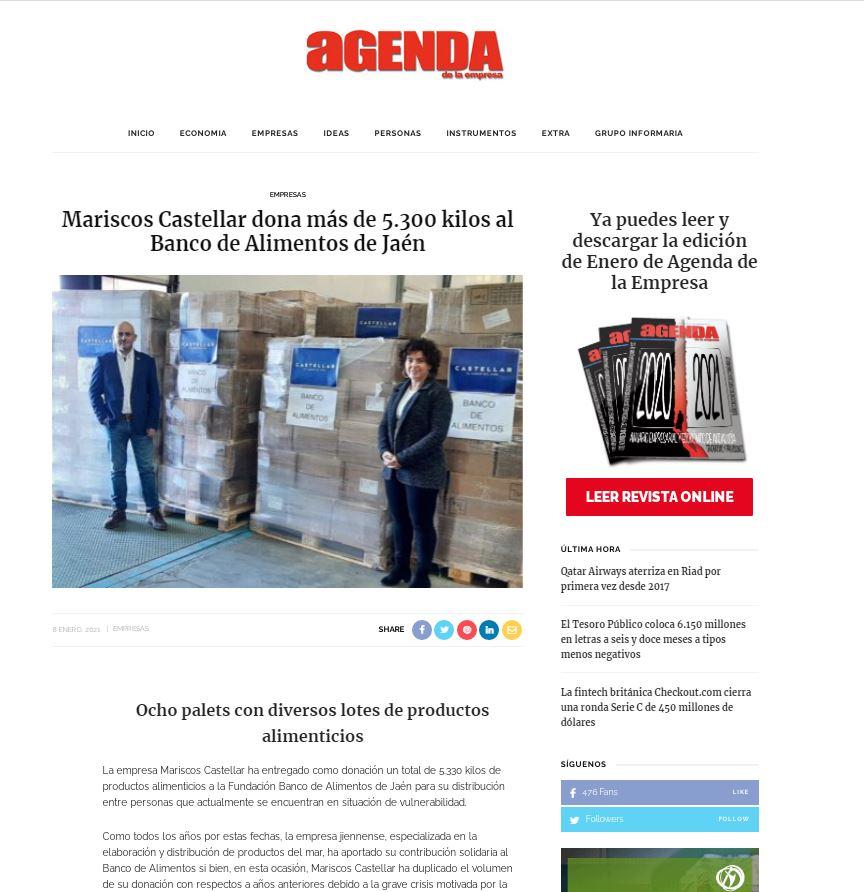 AGENDA DE LA EMPRESA-Mariscos Castellar dona más de 5.300 kilos al Banco de Alimentos de Jaén