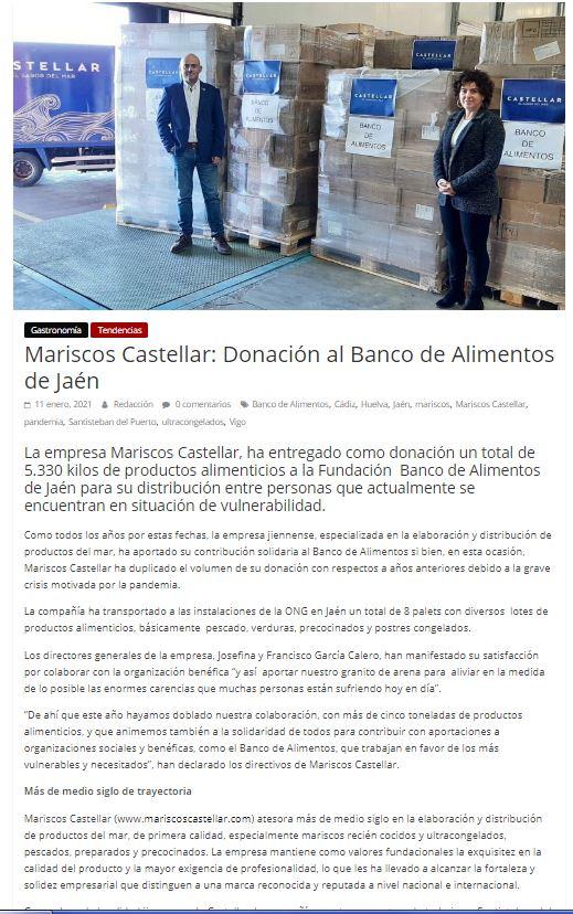 Revista ORIGEN-Mariscos Castellar: Donación al Banco de Alimentos de Jaén