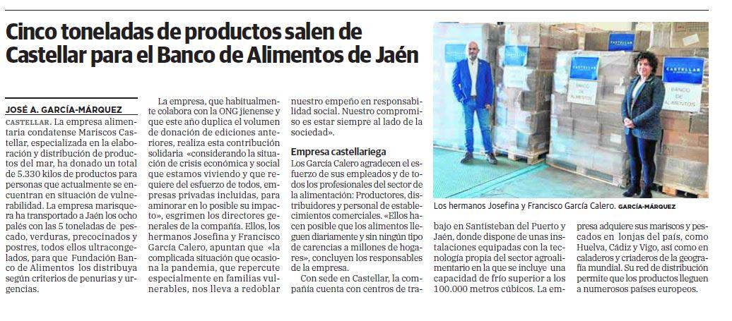 IDEAL- Cinco toneladas de productos salen de Mariscos Castellar para el Banco de Alimentos de Jaén