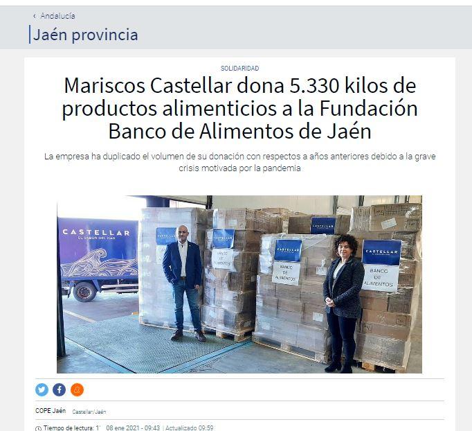 COPE- Mariscos Castellar dona 5.330 kilos de productos alimenticios a la Fundación Banco de Alimentos de Jaén
