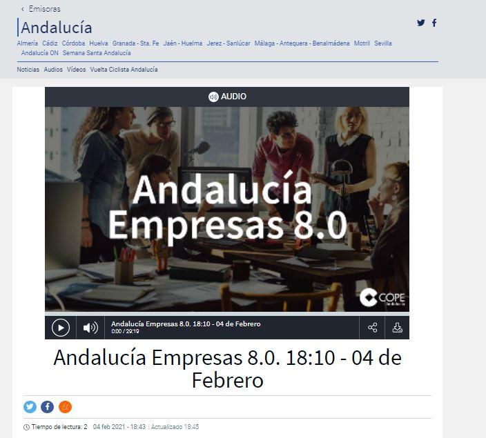 COPE ANDALUCÍA- Entrevista en Andalucía Empresas 8.0 a la Directora General, Josefina García Calero